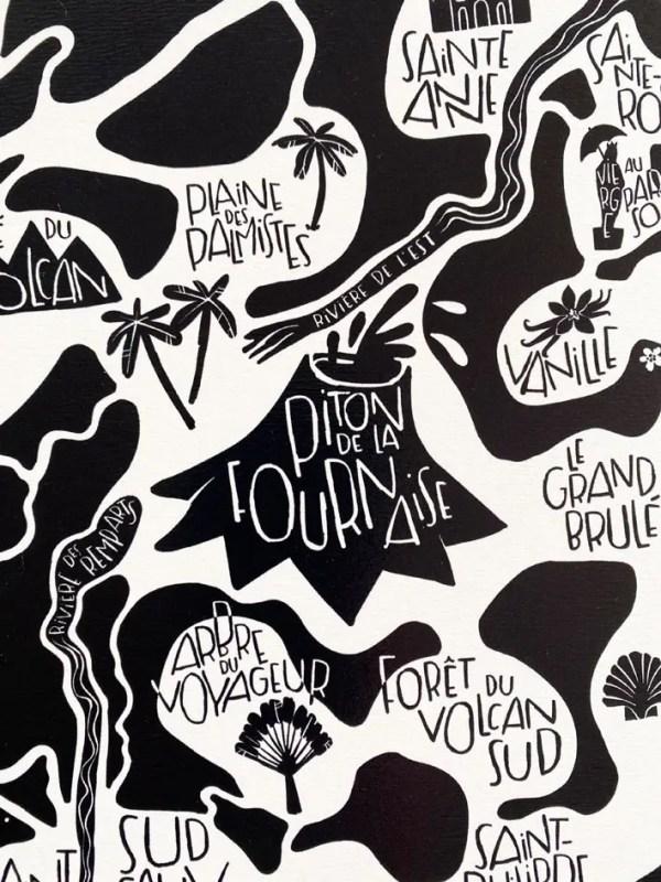 Grande affiche l'île de la Réunion - Tokiko, l'Art du Plan de Ville