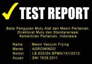 TEST REPORT MESIN VACCUM FRYING