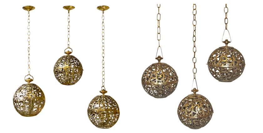 karakusa brass lamp trios