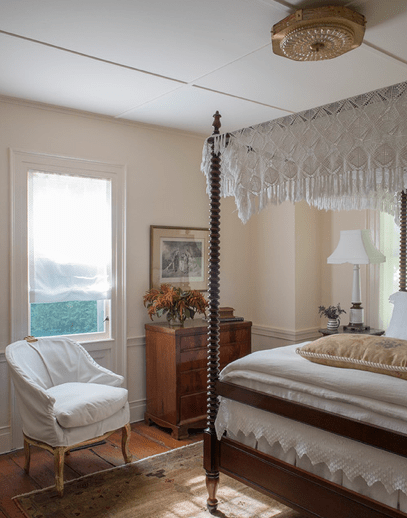 Michelle R Smith master bedroom pink lace Sag Harbor