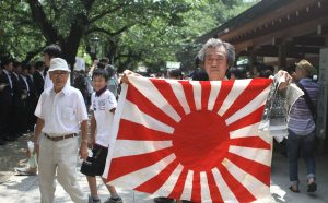 A visitor to Yasukuni Shrine on August 15