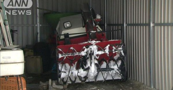 An 86-year-old man was killed after he was run over by his snow blower in his garage in Hokkaido (TV Asahi)