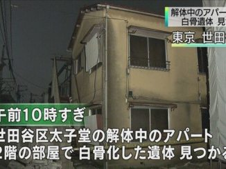 A work crew found skeletal remains in an apartment in the Taishido area