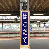 「はこだて」の駅名標もかわいい