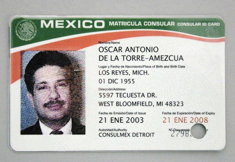Consular Card Example