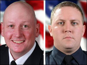 Stephen A. Machcinski, 42, left, and James Dickman, 31, right, of the Toledo Fire & Rescue Department died in the line of duty Sunday.