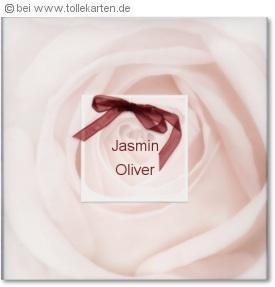 Einladungskarte zur Hochzeit mit Rose: