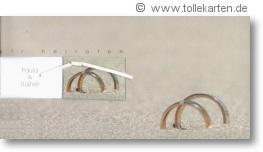 Einladung zur Hochzeit mit Eheringen im Sand: