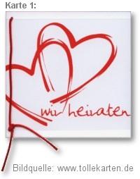 Einladungskarte mit zwei roten Herzen