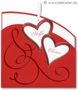 Hochzeitskarte mit rotem Einsteckmantel: