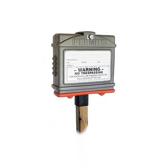 EZ Permit Box w/Lock & 4x4 Post Adapter Gray and Orange