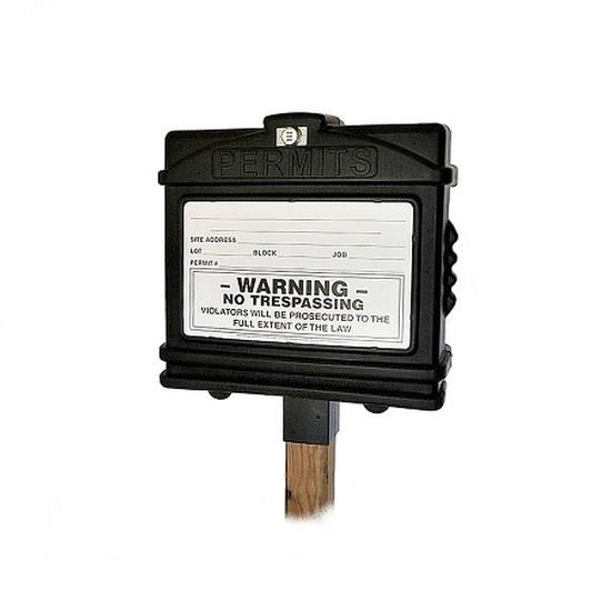 EZ Permit Box w/Lock & 4x4 Post Adapter Black and Black