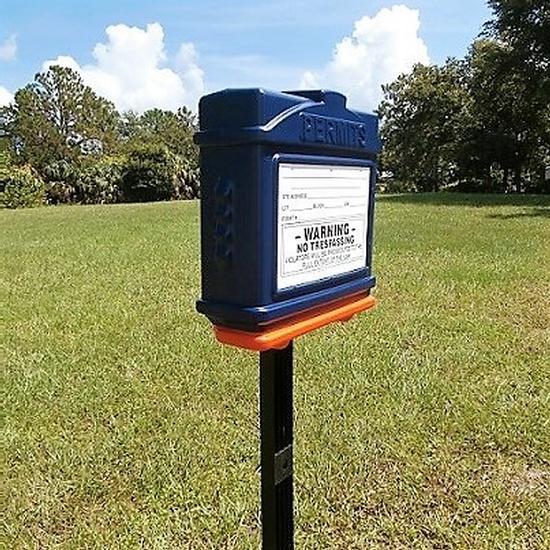 EZ Permit Box w/Post & Post Spike Blue and Orange