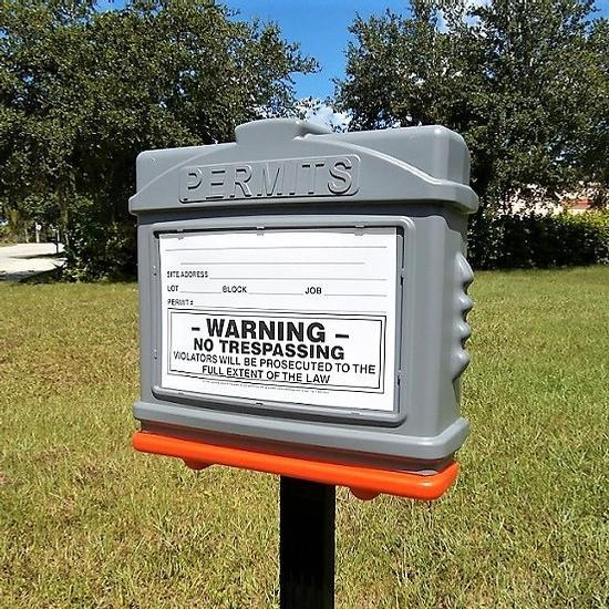 EZ Permit Box w/Post & Post Spike Gray and Orange