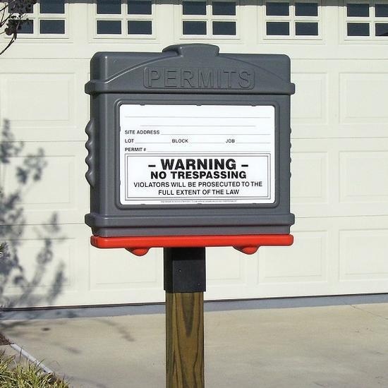 EZ Permit Box w/4x4 Post Adapter Gray and Orange