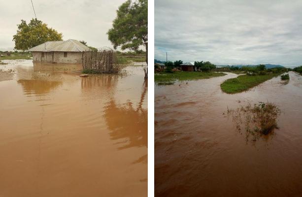 Das ganze Dorf ist von den Fluten umschlossen