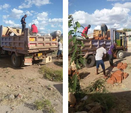 Anlieferung von Baumaterial in Toloha