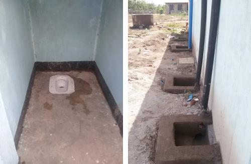 Ansicht einer Toilette, Ableitung zum Abwassertank