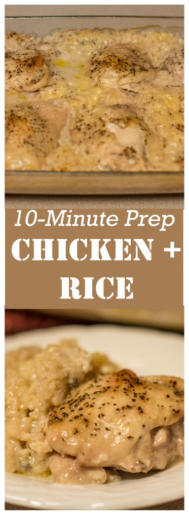 10-Minute Prep Chicken and Rice // Makes a great take-in meal or freezer meal, too!