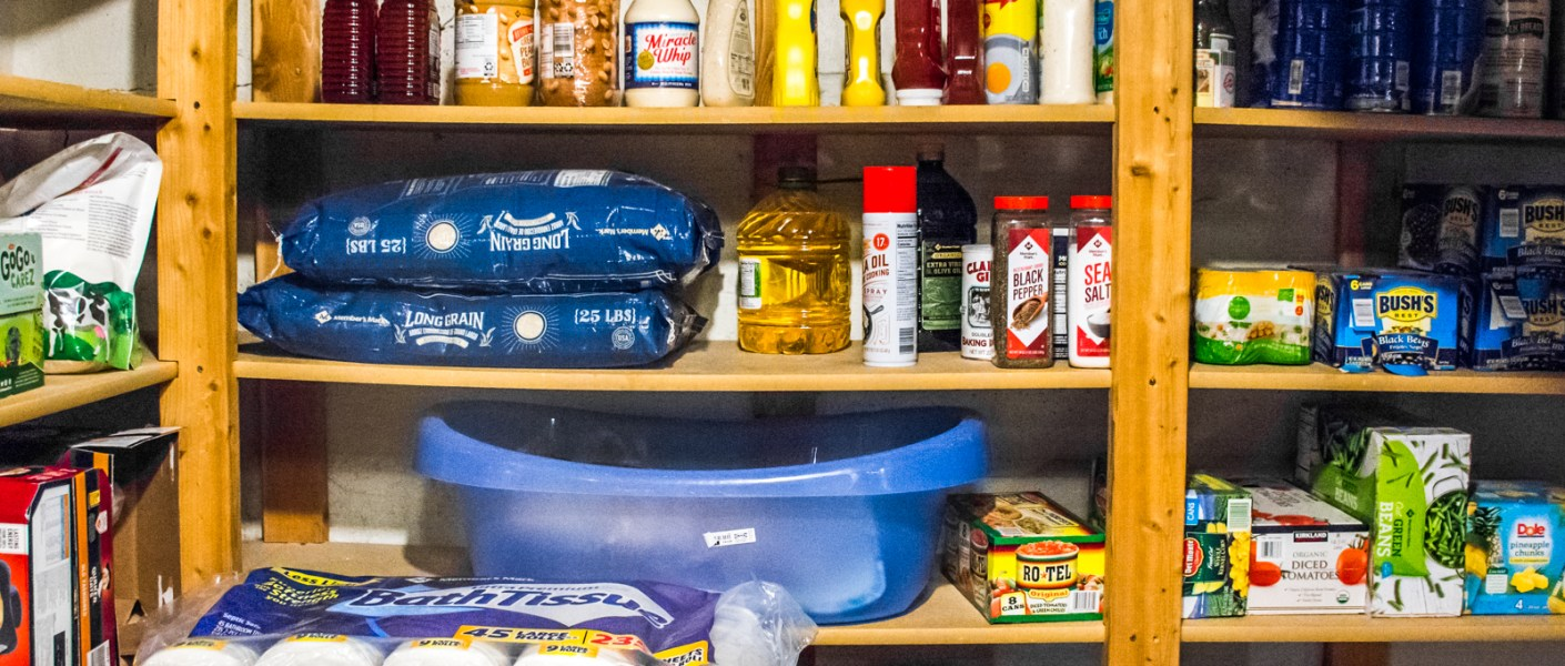 shelves of goods for short-term food storage