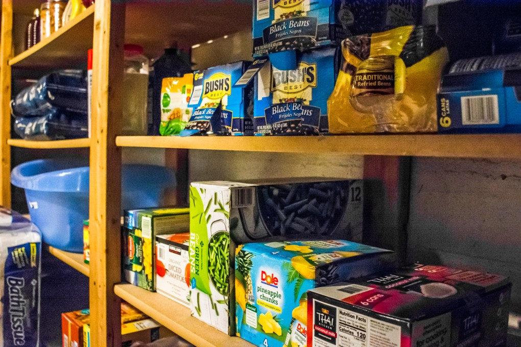 cases of canned goods for short-term food storage