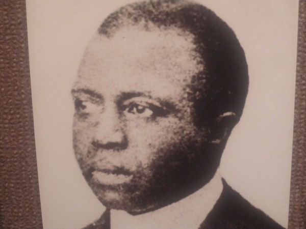 Billy Hathorn took this photo of a photo of Scott Joplin at Finney County, KS, Historical Museum in Garden City, KS, with Canon camera. This precedes 1923.