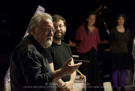 INSTANTZZ: Evan Parker & Estudiants del Taller d'Improvisació (Taller de Músics Escola Superior -Aula Omega Morente-, Mixtur 2019, Sant Andreu -Barcelona-. 2019-04-27) [Galería fotográfica]