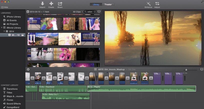 Screen cap of the iMovie editing windows. Notice visual displays for your library, your curent location in the project and your timeline window beneath where you have video and audio clips.