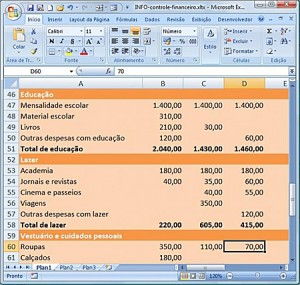 Planilhas de Controle Financeiro