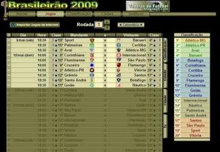 Tabela do Brasileirão 2009 - Lista de Jogos