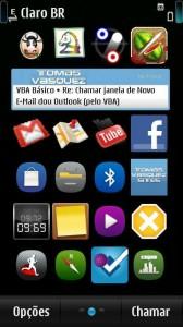 Aplicativo funcionando no desktop do Symbian