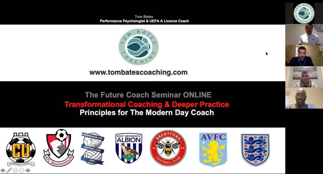 Screen shot of Tom Bates presentation for TFC VIRTUAL COACHING Sep 20