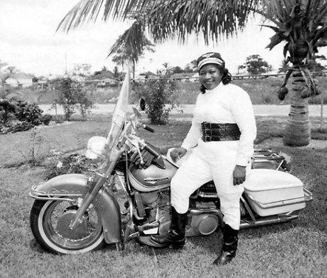 Bessie Stringfield, African-American women motorcycle rider, on her Harley Davidson