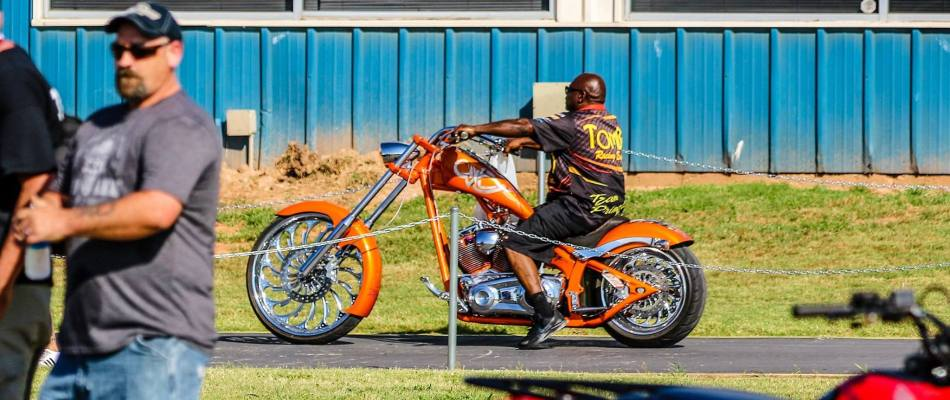 Tombo on a  Tombo Custom Chopper!