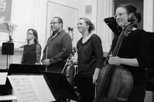 Mary Dullea, Rowland Sutherland, Rose Redgrave & Alice Purton having performed 'Enmîmés sont les gougebosqueux', Austrian Cultural Forum, October 2014