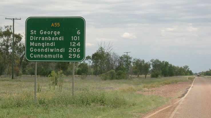 A country road sign on the way to St George.