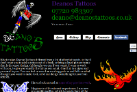 Screenshot of the Deanos Tattoos website