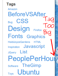 Screenshot of problem with too big tag
