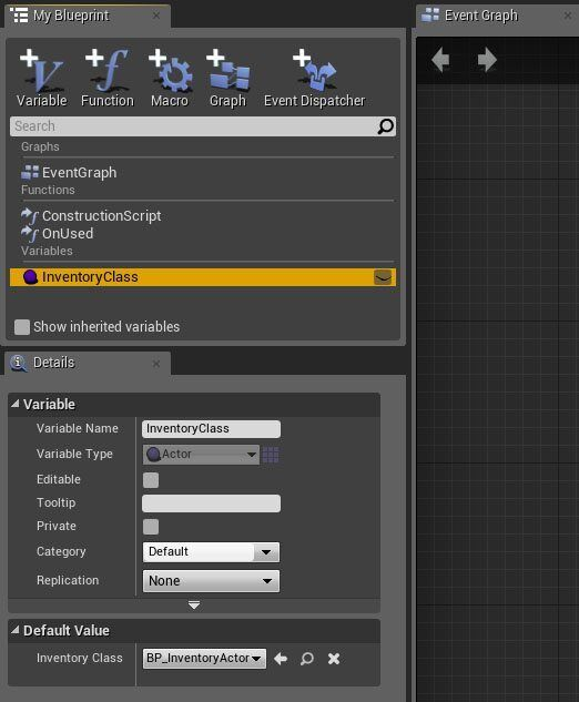 Tutorial basic inventory system in blueprint tom looman on used event handles the response when a player presses e key while hovering over an item do note that add item is a function of our inventory malvernweather Images