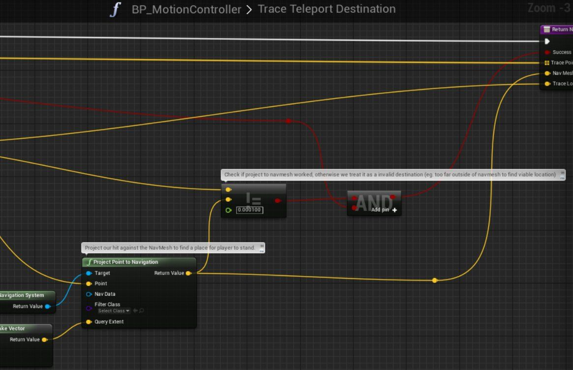 Vr template guide for unreal engine 4 tom looman with your own filtering is pretty easy and you should start by looking at the bpmotioncontroller blueprints traceteleportdestination function malvernweather Choice Image