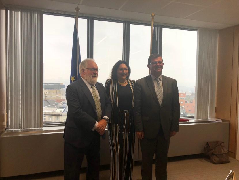 Minister Tommelein, Minister Marghem en Europees Commissaris Canete