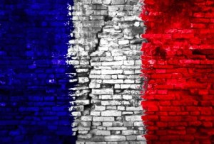 French Flag painted on bricks