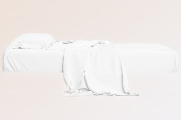 clean white bed and sheets