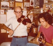 Playing with Tiny Moore at his studio