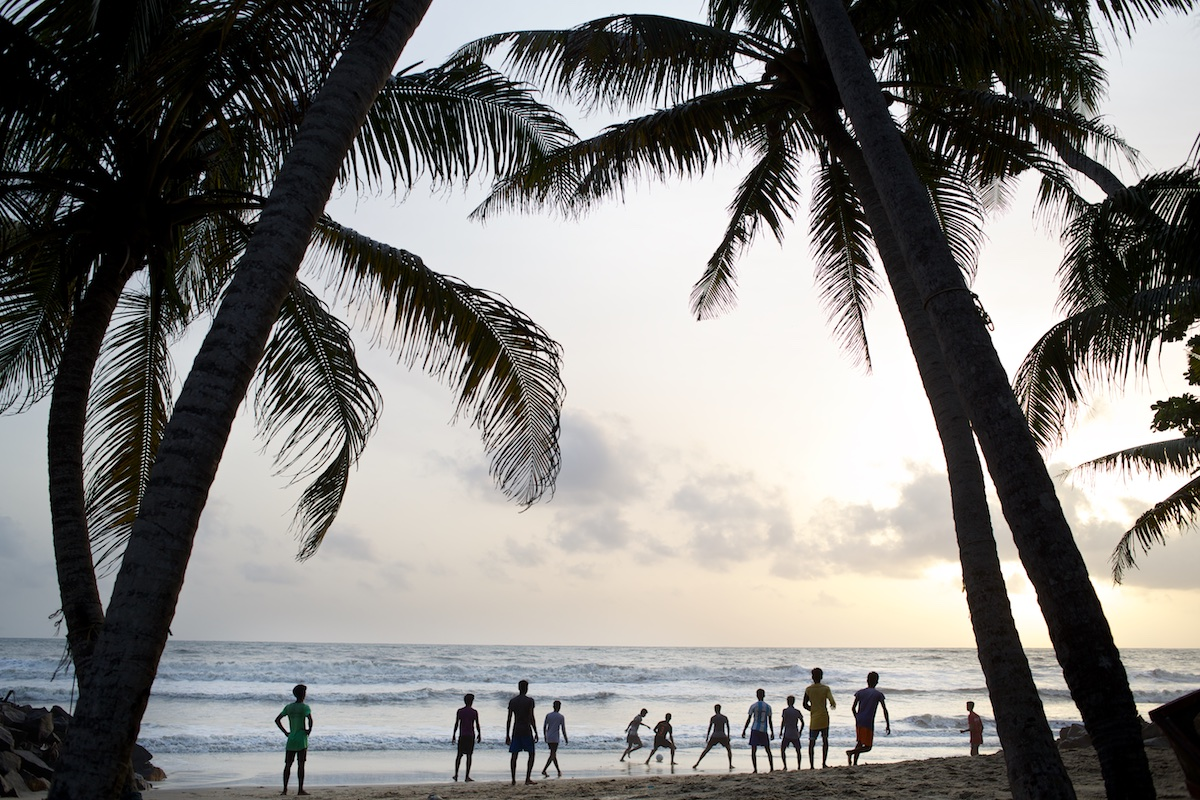 Football on the beach in Kerala, India.   Photo: Tom Pietrasik June 2014 Kerala, India