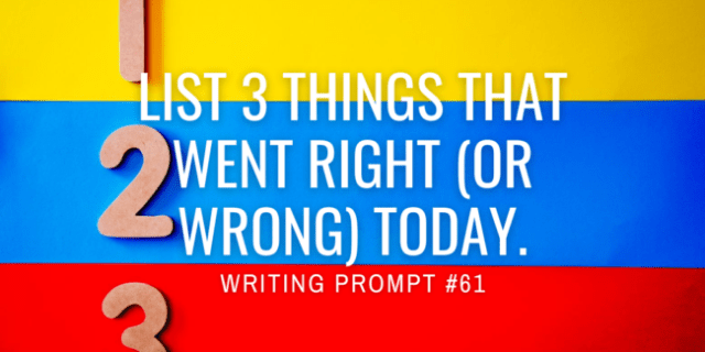 List 3 things that went right (or wrong) today.