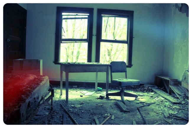Desk, Chair, And Rotten Bed (Aqua Edit)