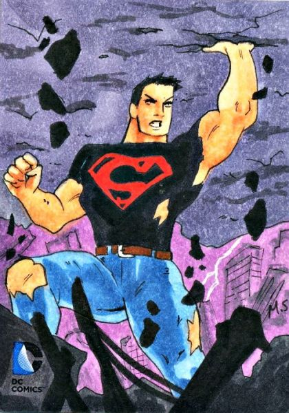 2014 DC Epic Battles sketch card of Superboy by Artist Matthew Sutton #superboy #sketch #sketchcard