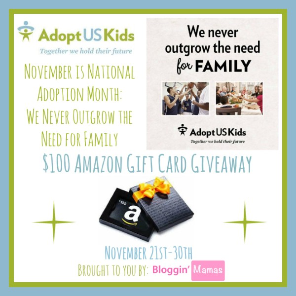 National Adoption Month - Enter to win a $100 Amazon Gift Card Ends 11/30