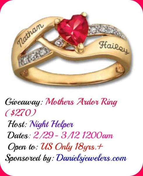 Win a Beautiful Mothers Ardor Ring Ends 3/12 Good Luck from Tom's Take On Things